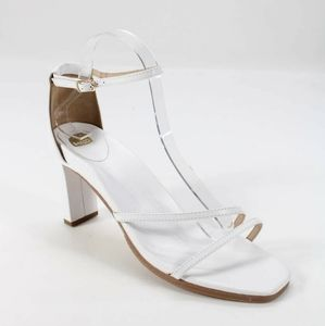 Bared Footwear Swan White Leather Strappy Heel